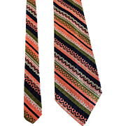 Pauline Trigere Vintage 1960s Mens Wide Necktie Tie Woven Silk Diagonal Stripes