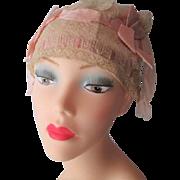 Flapper Boudoir Sleep Cap Hat Vintage 1920s Pink Silk Lace Bows