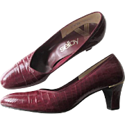 Mod Leather Shoes Vintage 1960s Crimson Faux Alligator Pumps
