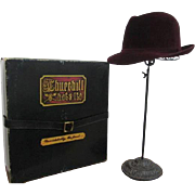 Mens Fedora Hat Vintage 1980s West Germany Churchill Ltd Burgundy Crimson Fur Felt Hatbox