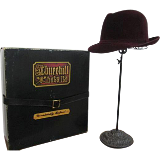 Mens Fedora Hat Vintage 1980s West Germany Churchill Ltd Burgundy Crimson Fur Felt Hatbox