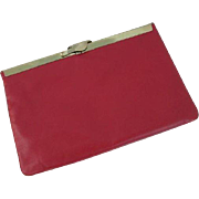 Etra Red Leather Clutch Purse Vintage 1970s Chain Handle Gold Frame