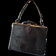 Black Art Deco Purse Handbag Vintage 1940s Faux Reptile Alligator Embossed Leather Top Handle Bag