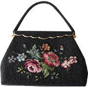 Black Beaded Purse Evening Bag Vintage 1950s Micro Petit Point Floral Flowers Hong Kong Pristine