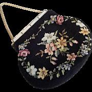 Needlepoint Purse Vintage 1940s Handbag Mother Of Pearl Ornate Frame