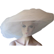 Wide Brim Hat Veil Vintage 1960s White Tulle Millinery Roses Hatbox Wedding Bridal
