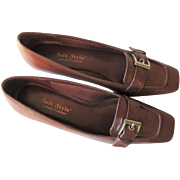 Womens Loafers Shoes Hush Puppies Vintage 1980s Brown Leather Buckle