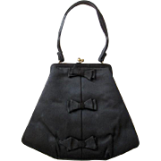 Art Deco Purse Vintage 1940s Black Silk Magid Bows Coin Purse Mirror