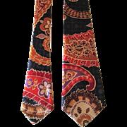 Wild Vintage 1970s Necktie Rayon Paisley Floral