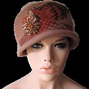 Cloche Hat Vintage 1960s Pheasant Feather Amber Rhinestone Leaf Veil