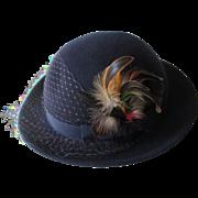 Fedora Hat Vintage 1970s Betmar Pheasant Feathers Veil Navy Blue Wool