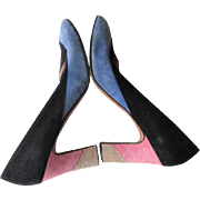 Italian Mod Shoes Vintage 1970s Suede Leather Navy Blue Pink Tan Garolini