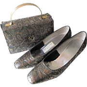 Mod Metallic Paisley Box Purse Shoes Vintage 1960s Town and Country Set
