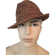 Mens Stetson Fedora Hat Vintage 1970s Brown Wool Plaid