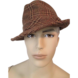 Mens Stetson Fedora Hat Vintage 1970s Brown Wool Plaid 7.25