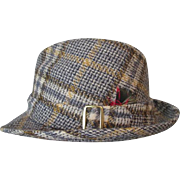 Mens Snap Brim Fedora Hat Vintage 1970s Churchill Wool Plaid