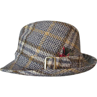Mens Snap Brim Fedora Hat Vintage 1970s Churchill Fall Wool Plaid Buckle
