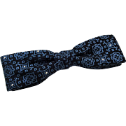 Mens Vintage Bow Tie 1950s Blue Clip On