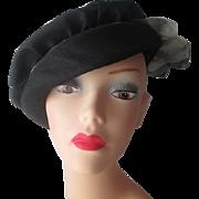 Black Beret Hat Vintage 1960s Plaid Bow Womens Fashion Accessory