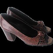 Italian Snakeskin Shoes Heels Vintage 1960s Brown Open Toe Block Heel Margaret Jerrold Clark