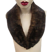 Brown Mink Fur Collar Vintage 1940s Silk Lined