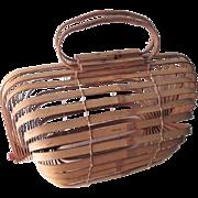 Bamboo Basket Purse Handbag Vintage 1950s Lobster MCM Mid Century Modern Red Knobs