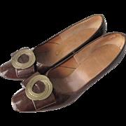 Mod Brown Patent Leather Shoes Pumps Vintage 1960s Wreath Shoe Clips