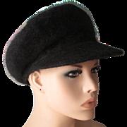Black Angora Lambswool Womens Hat Vintage 1970s Groovy Retro Tall Newsboy Cap
