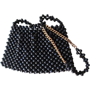 Navy Blue Beaded Purse Handbag Crossbody Vintage 1970s Wooden Beads Japan Chain