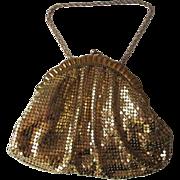 Art Deco Whiting and Davis Gold Mesh Purse Vintage 1940s Chain Handle Petite Dance Purse Flapper Size