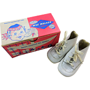 Childrens Vintage 1950s Wee Walker Shoes In Original Advertising Box