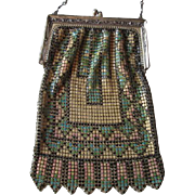Whiting and Davis Enamel Mesh Purse Handbag Art Deco Chain Handle