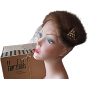 Jeweled Mink Fur Hat Veil Vintage 1940s New In Original Harzfelds Petticoat Lane Kansas City Hatbox