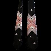 Mid Century Modern Tie Necktie Vintage 1950s Mens Van Heusen Damask Top Hat Black Pink Grey Novelty