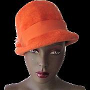 Orange Fedora Hat Vintage 1970s Plush Wool Felt Italian Adolfo II Ostrich Feather Hatpin