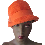 Orange Fedora Hat Vintage 1980s Plush Wool Felt Italian Adolfo II Ostrich Feather Hatpin