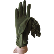 Olive Green Gloves Vintage 1960s Ruched Womens Fall Fashion