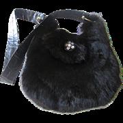 Black Rabbit Fur Purse Vintage 1970s Leather Strap Lucite Button Luxurious Glam Handbag