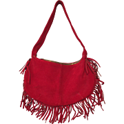 Bohemian Vintage 1970s Red Suede Leather Purse Handbag Fringe