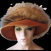 Vintage 1960s Bucket Hat Caramel Brown Wool Felt Faux Fur Mr. John Jr.