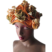 Fall Colors Floral Church Hat Vintage 1970s Burnt Orange Satin Millinery Roses