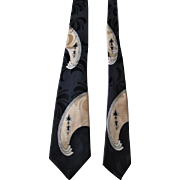 Art Deco Mens Necktie Vintage 1940s Rayon Mirror Image Damask Navy Blue Superba Cravats