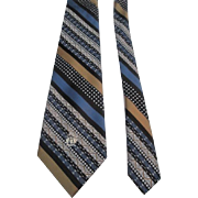 Oleg Cassini Mens Wide Necktie Tie Vintage 1970s Diagonal Stripe Double Knit Polyester Mint