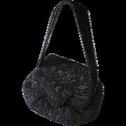 Blue Beaded Evening Bag Box Purse Handbag Vintage 1940s Art Deco Flapper Chalet New York Paris