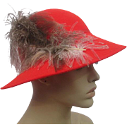Orange Fedora Hat Womens Vintage 1970s Feather Plume Doeskin Wool Geo W Bollman