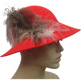 Orange Fedora Hat Womens Vintage 1970s Feather Plume Doeskin Wool Geo W Bollman