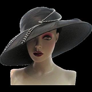 Black Wide Brim Hat Vintage 1980s Dynasty Black Satin Rhinestones