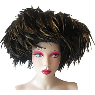 Womens Wide Brim Feather Hat Vintage 1980s Black Gold Joe Bill Miller Michael Howard Wool
