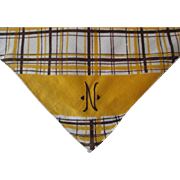 Art Deco Handkerchief Vintage 1940s Brown Yellow Plaid Cotton Monogrammed N Hanky Hankie