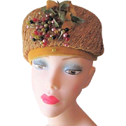Pillbox Hat Vintage 1950s Mustard Yellow Straw Velvet Bow Millinery Berries